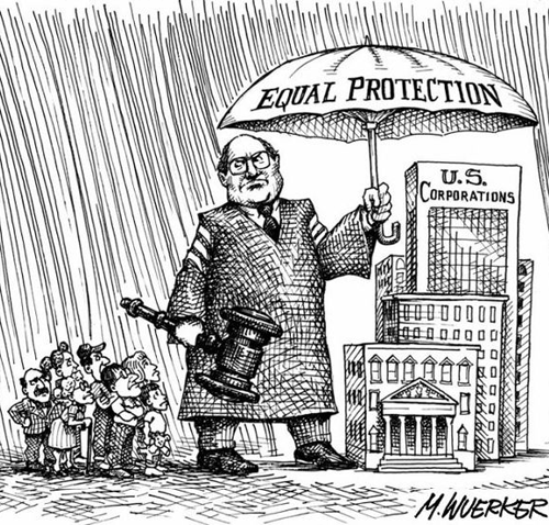 14th amendment cartoon showing shelter for companies but not individuals